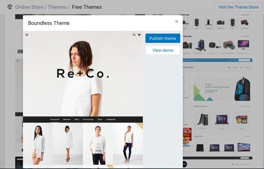 Como criar uma loja virtual no shopify no modelo dropshipping - Escolhendo o tema da sua loja