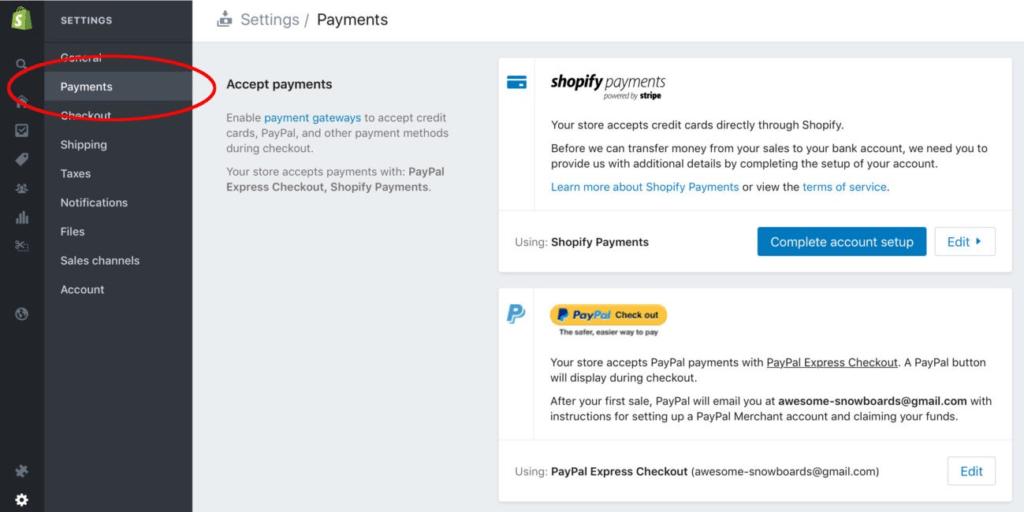 Como criar uma loja virtual no shopify no modelo dropshipping - Escolhendo forma de pagamento