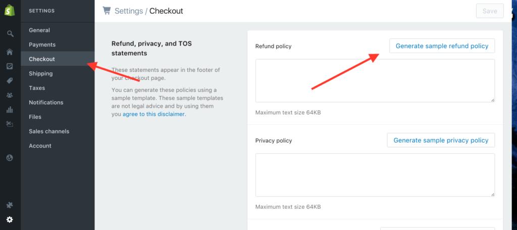 Como criar uma loja virtual no shopify no modelo dropshipping - Adicionando informações de politicas internas